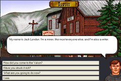 A screenshot from The Yukon Trail showing the player talking to Jack London in Dawson City.