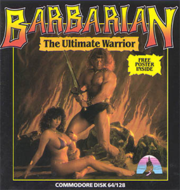 "A busty woman with long curly hair lounges on the floor. She is wearing a tiny bikini. A muscular man, wearing a loincloth, stands above her, holding a sword upright in his hands. The background is of a painted rocky surface in flames. The words ""Barbarian: The Ultimate Warrior"" are emblazoned above the pair."