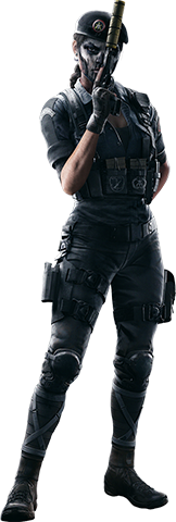 Artwork of the article subject, a specialised police unit member wearing light, dark clothing. She holds a suppressed pistol in a way to cover face, which is painted to resemble a skull.