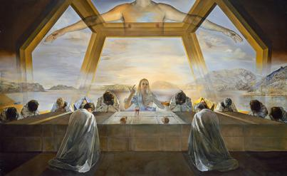"""The Sacrament of the Last Supper."" Artist: Salvador Dalí. 1955. Oil on canvas. Dimensions 267 cm × 166.7 cm (105 in × 65.6 in). National Gallery of Art, Washington DC."