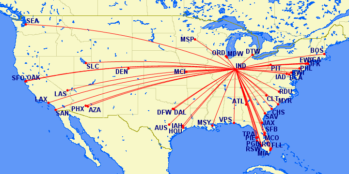 Indianapolis non-stop passenger domestic flights. (As of January 2018)