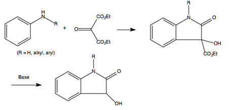 The overall reaction mechanism for the Martinet dioxindole synthesis.png
