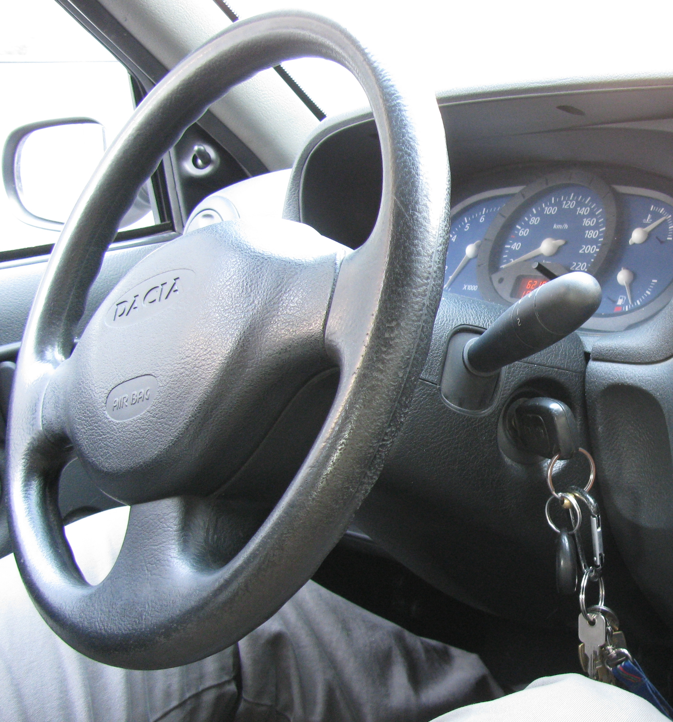 steering wheel and keys in ignition