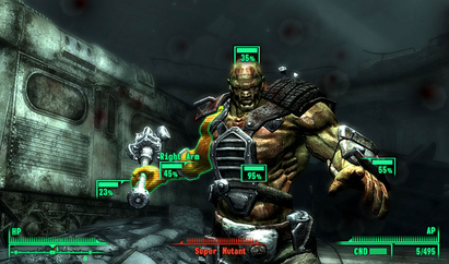 The V.A.T.S. system is a new gameplay element for the Fallout series. As seen here, real-time action is stopped and the player can see both the damage that has been done to a target's limbs and the percentage ratio for attempting to attack that limb Fallout 3 V.A.T.S. Screen.PNG