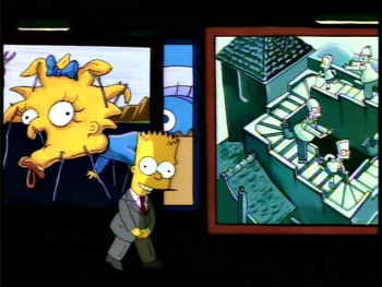 "Bart Simpson introducing a segment of ""Treehouse of Horror IV"" in the manner of Rod Serling's Night Gallery Bart Night Gallery.jpg"