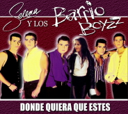 A cover album of the Barrio Boyzz and Selena in a straight line, looking at one direction.