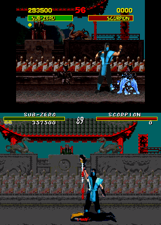 Sub Zero's Fatality move in the SNES (top) and Genesis (bottom, with blood cheat applied) ports of Mortal Kombat, showcasing the difference in violence levels MK1 SNES vs MD.png