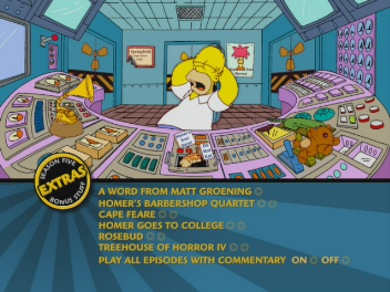 The menu for the first disc of The Complete Fifth Season; the new format of menus has since been used in the rest of the released season box sets The Simpsons - Season 5 DVD menu.png