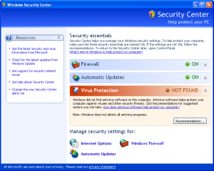 Windows Security Center in Windows XP Service Pack 2 reporting no antivirus product is installed