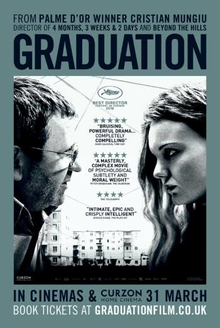 "A father and his daughter hug each other in front of a light grey-purple background. The film's title, awards recognition and praise from critics are placed above them, with the ""n"" in Graduation raised higher than the title's other letters."
