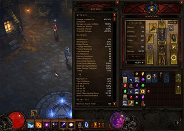 Diablo III's inventory and HUD retain a feel similar to that found in earlier games in the series, including a viewpoint reminiscent of the isometric view of Diablo III's predecessors. The inventory has sixty slots for items. Armor and weaponry each occupy two slots and all other items each occupy one slot. It can also be expanded to include details about the character's attributes. D3-inventory-smaller.jpg