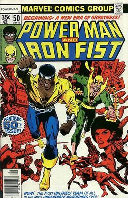 A comic book cover from the Marvel Comics series Power Man and Iron Fist, art by Dave Cockrum