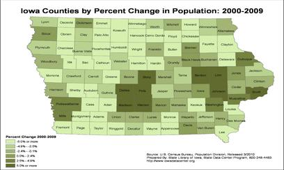 Percent population changes by counties in Iowa, 2000-2009. Dark green counties have gains of more than 5%. Iowa pop 00 to 09.jpg