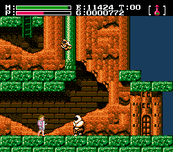A typical gameplay shot. Faxanadu NES gameplay.png