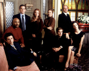 The main characters of Six Feet Under in the first season. From left to right: Federico; Keith; David; Claire; Ruth; Nate; Nathaniel, Sr; and Brenda.