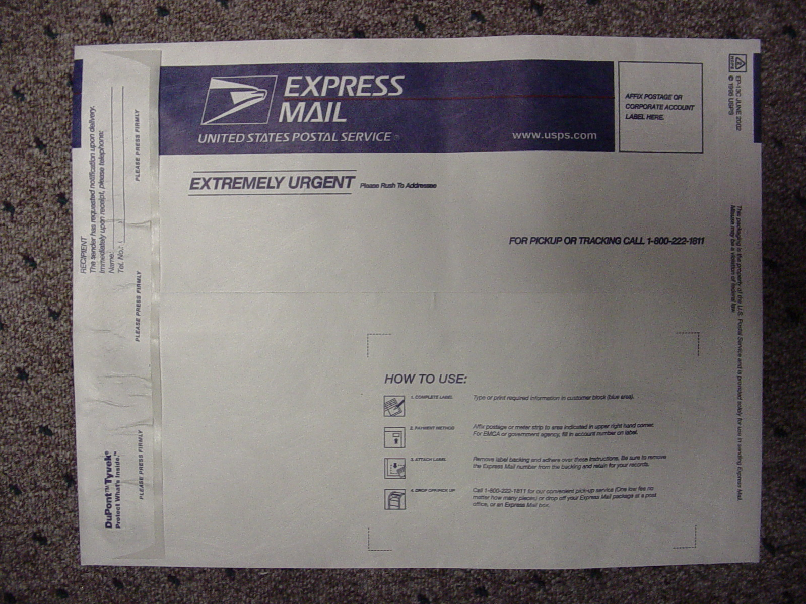 Former Tyvek envelope design for Express Mail