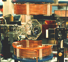 A magneto-optical trap, which can hold neutral francium atoms for short periods of time. Franciumtrap.PNG