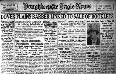 A rare early newspaper headline. (Feb. 12, 1930 Poughkeepsie Eagle News) Poughkeepsie Eagle News Feb 12 1930.jpg