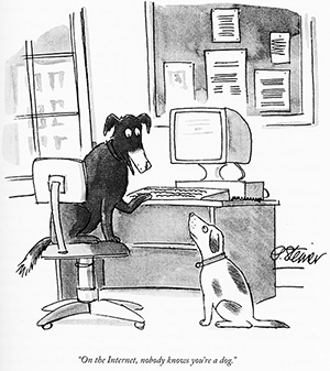 "a dog at a computer monitor talking to another dog on the floor. Caption: ""On the Internet, nobody knows you're a dog."""