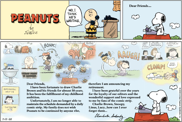 Final Sunday strip, which came out February 13, 2000: a day after the death of Charles M. Schulz Last peanuts comic.png