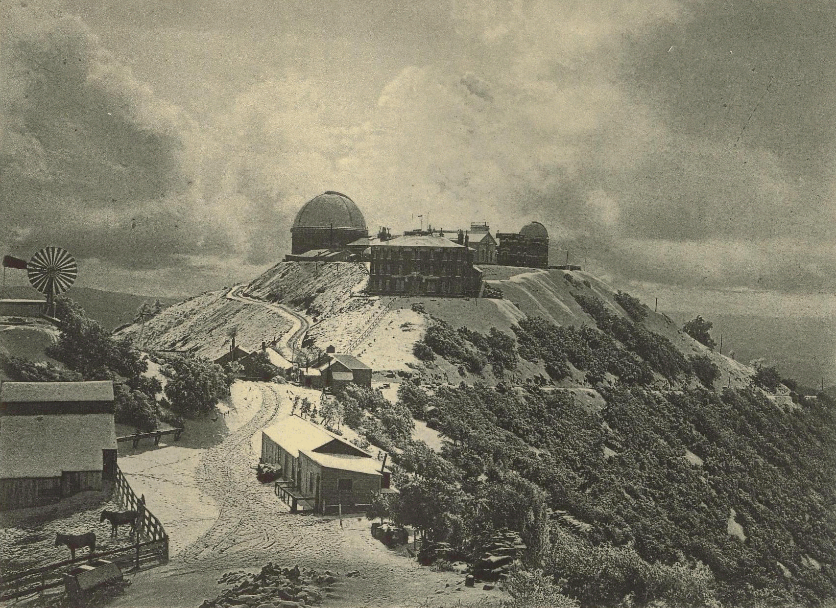 Historic Image of Lick Observatory on top of Hamilton Mountain California, while Highway 130, San Antonio Valley Road, was still dirt