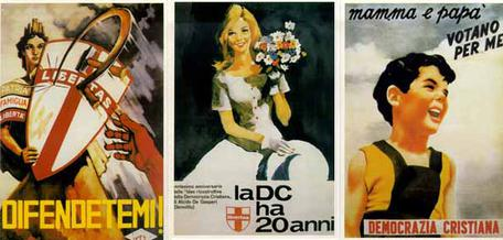 Propaganda posters of the DC: they described to potential voters the party's commitment to anti-communism (in the left poster), traditionalism (in the centre poster), and family values (in the right poster). Note the use of symbols, especially the crossed shield (representing the DC) protecting Italy (represented by Italia Turrita) from the communist hammer and sickle symbol being used as a weapon in the left poster. Propaganda Dc.jpg