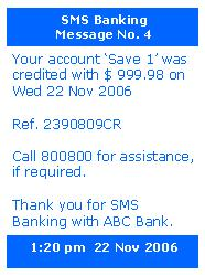 Screenshot of a typical SMS Banking message on...