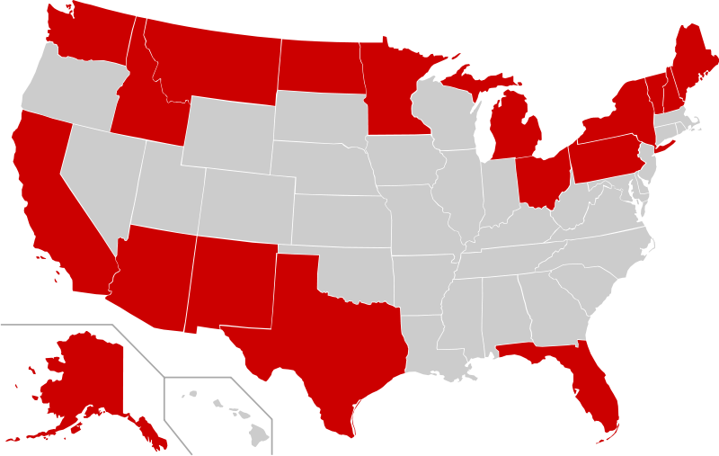 International Border States Of The United States Wikipedia - Map of us states and canada