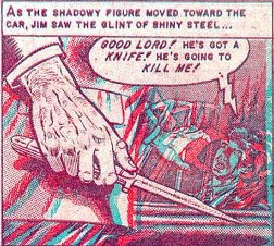 "Anaglyph 3D panel for ""The Thing from the Grave"" as rendered by Joe Orlando for Three Dimensional Tales from the Crypt of Terror The thing from the grave 3d.jpg"