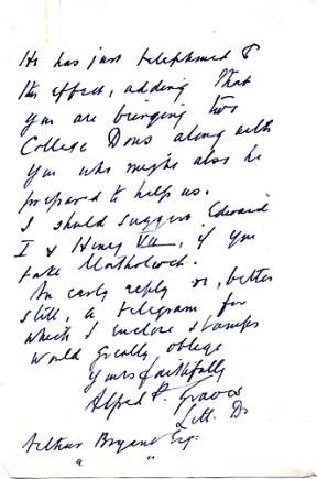 One page of a letter bearing Graves' signature Alfred Graves letter with signature.jpg
