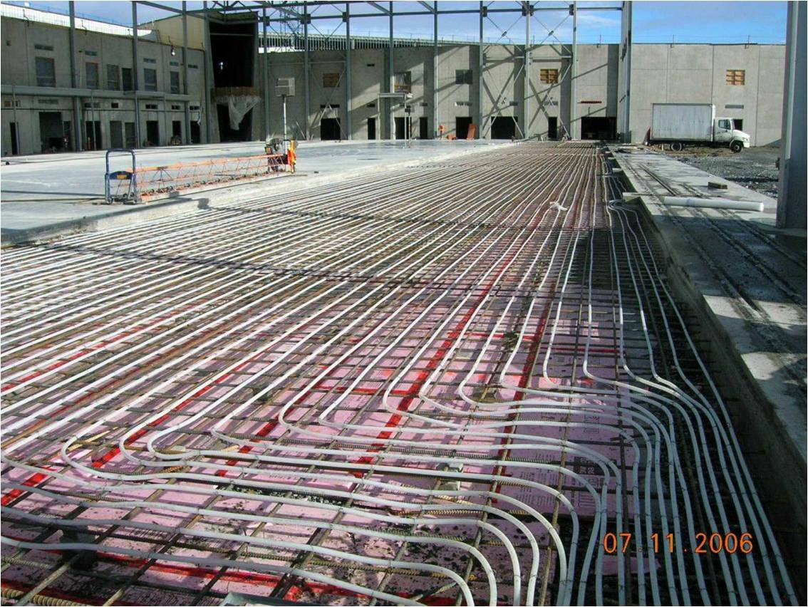 Underfloor Heating Wikipedia Further Radiant Floor Heat Section Diagram On Under Carpet Wiring Tubing Layout Project Bcit Aerospace Hangar Vancouver British Columbia Canada