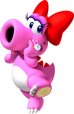 Birdo in Mario Party 9. Birdo is a pink anthropomorphic creature with a large mouth, who wears a red bow and a diamond ring.