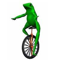 Dat Boi Frog riding unicycle meme