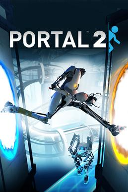 Cover art of the game; two humanoid robots are shown standing into a large, futurist setting with catwalks, pneumatic tubes, and other features in the background. One robot is crossing between two portals in the foreground, the other watching from behind.