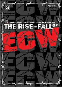 "DVD cover which reads ""The Rise & Fall of ECW""."