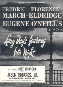 Window card for the 1956 Broadway production of Long Day's Journey into Night starring Fredric March and Florence Eldridge