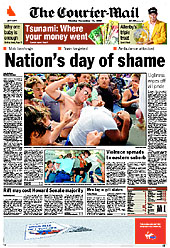Front page of The Courier-Mail, 12 December 2005, prior to its conversion to a tabloid format. The headline refers to the 2005 Cronulla riots. Courier-Mail front page 12-12-2005.jpg