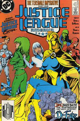 Justice League America #31 (Oct. 1989): Linda Strauss as Doctor Fate. Cover art by Adam Hughes.