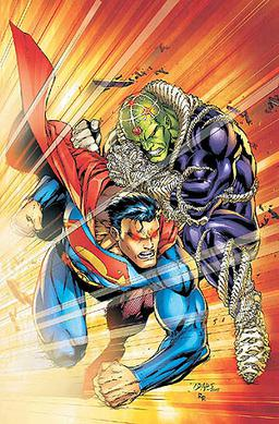Brainiac battles Superman during the Infinite Crisis event. Cover of Superman (vol. 2) #219 (September 2005). Art by Ed Benes.