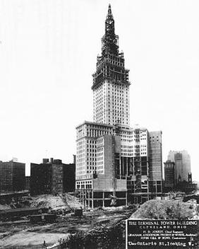 Cleveland's iconic Terminal Tower under construction in 1927. Terminal-tower-construction.jpg