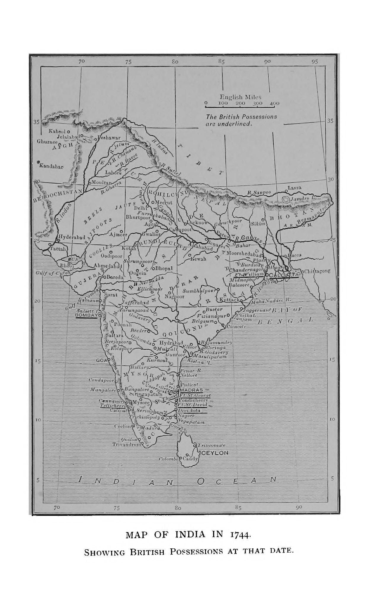 A map of the Indian subcontinent showing the British possessions in 1744
