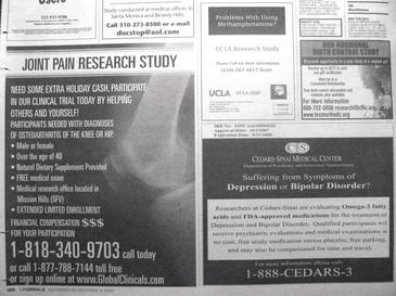 Newspaper advertisements seeking patients and healthy volunteers to participate in clinical trials Clinical trial newspaper advertisements.JPG