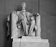 Daniel Chester French's seated Lincoln faces the National Mall to the east.
