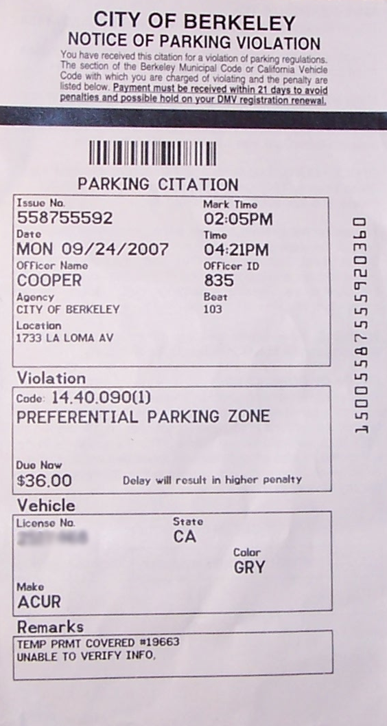 picture about Printable Parking Tickets titled History:Parking ticket Berkeley.png - Wikipedia
