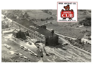 Piper Aircraft Company factory in Lock Haven, Pennsylvania, with the Piper Cub logo superimposed at the top.