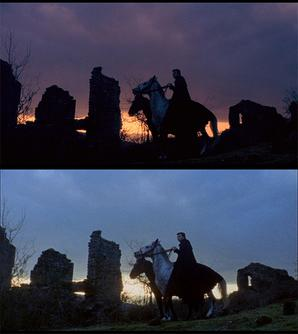 "Two screenshots of the same scene from ""The Wurdulak"". The top image is from the Italian version supervised by Mario Bava. The second is from American International's print. Comparison between American and Italian version of Black Sabbath.jpg"