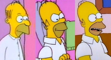 "Homer's design has been revised several times over the course of the series. Left to right: Homer as he appeared in ""Good Night"" (1987), ""Bathtime"" (1989), and ""Bart the Genius"" (1990). Evolution of Homer.jpg"