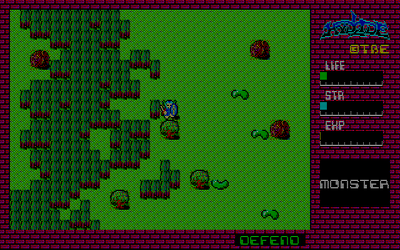 Screenshot of the original NEC PC-8801 version of Hydlide (1984), an action role-playing game Hydlide screenshot.png