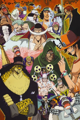 Other Major Characters Of The Series Are From Left To Right And Up Down Blackbeard Buggy Sengoku Aokiji Mihawk Shanks Kuma Smoker Whitebeard