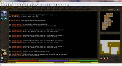 Typical MUD interface for God Wars II. God Wars II screenshot of dungeon with MUSHclient plugin.png